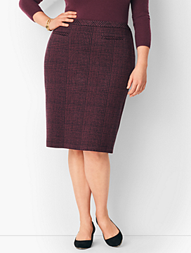 Textured Ponte Houndstooth Pencil Skirt