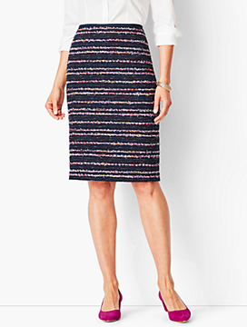 Stripe Tweed Pencil Skirt