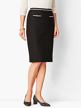 Textured Grosgrain-Trim Pencil Skirt
