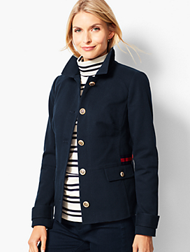 Grosgrain-Trim Twill Jacket