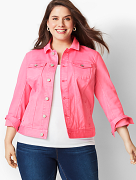 The Classic Colored Denim Jacket - Shocking Pink
