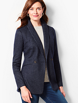 Pinstripe Double-Breasted Blazer
