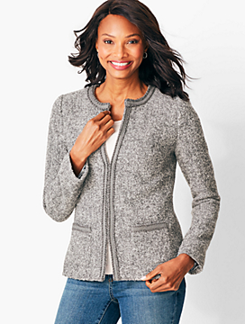 Bouclé-Trim Jacket