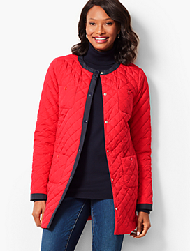Collarless Quilted Jacket