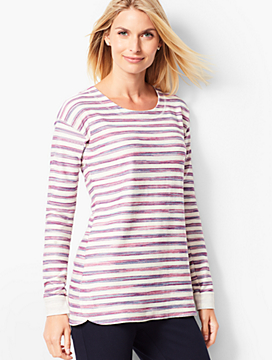 Button-Back Stripe Terry Top