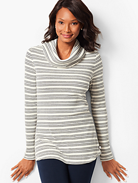 Stripe Cowlneck Top