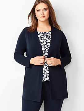 Plus Size Exclusive Knit Jersey Open Cardigan