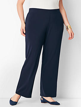 Plus Size Matte Jersey Straight-Leg Pants