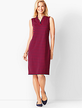 Feminine Knit Jersey Dress - Striped