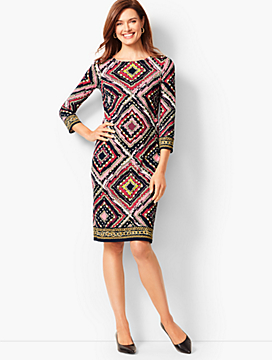 Knit Jersey Shift Dress - Medallions