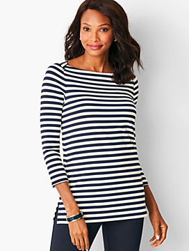 Knit Jersey Tunic Top - Striped