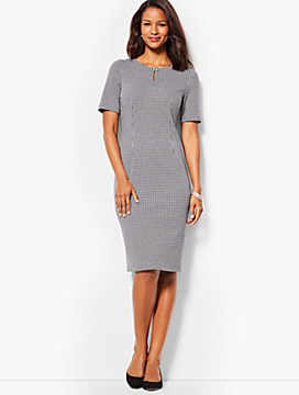 Refined Ponte Sheath Dress - Houndstooth Print