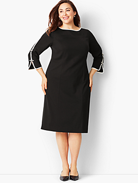 Bow-Sleeve Refined Ponte Sheath Dress - Black/Ivory