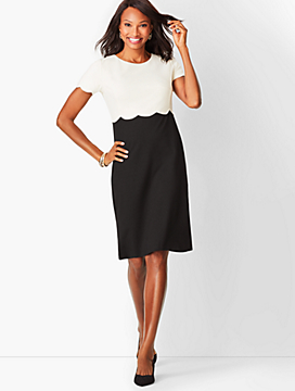 Refined Scallop-Sleeve Ponte Dress