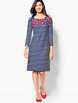 Stripes & Flowers Shift Dress