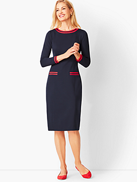 Grosgrain-Trim Refined Ponte Sheath