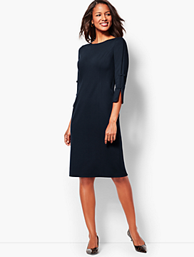 Bow-Sleeve Refined Ponte Sheath Dress - Solid