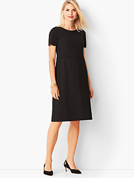 Refined Scallop-Sleeve Ponte Dress - Black