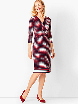 Crepe Faux-Wrap Sheath Dress - Graphic Squares