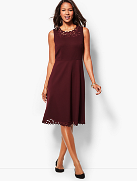 Embroidered Ponte Fit-And-Flare Dress