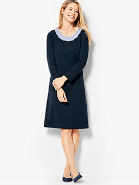 Pleat Neck Shift Dress