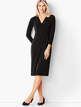 Crepe Faux-Wrap Sheath Dress