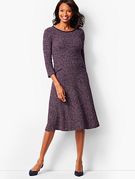 Twisted Bouclé Fit Flare Dress