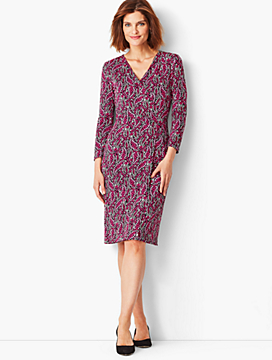 Crepe Faux-Wrap Sheath Dress - Modern Botanical Print