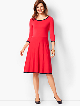 Tipped Fit & Flare Sweater Dress