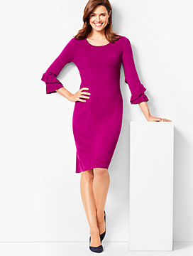 Three-Quarter-Sleeve Sweater Dress