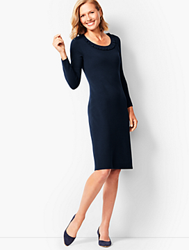 Jewel-Neck Sweater Shift Dress
