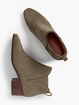 Dakota Suede Scallop-Edge Ankle Boots