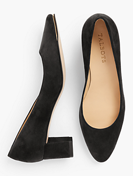 Kelsey Block-Heel Pumps - Kid Suede