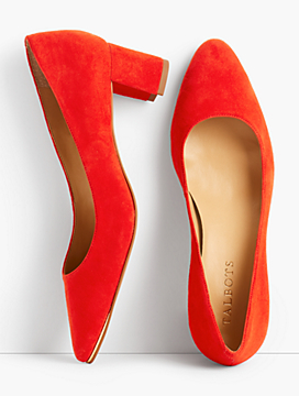 Kelsey Block-Heel Pumps-Kid Suede