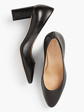 Kelsey Block-Heel Pumps - Leather