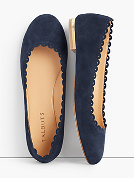 Penelope Scalloped Ballet Flats-Kid Suede