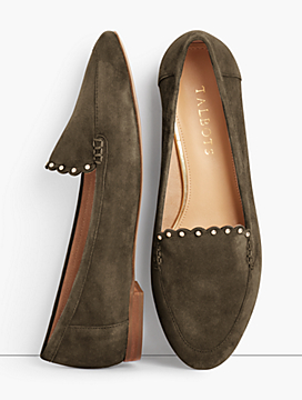 Ryan Loafers - Kid Suede Scalloped