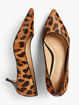 Sylvie Kitten-Heel Pumps - Haircalf Leopard-Print