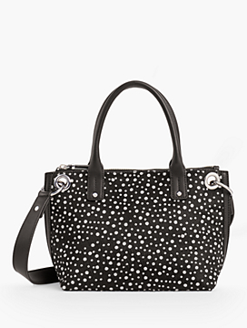 Leather Haircalf-Dot Tote Bag