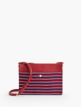 Small Leather Crossbody Bag - Stripe