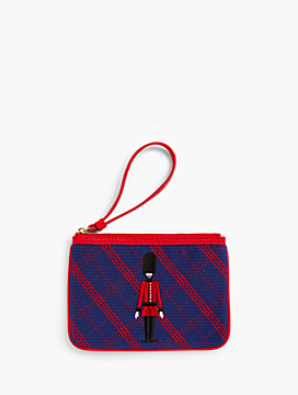 Embroidered Plaid Novelty Wristlet