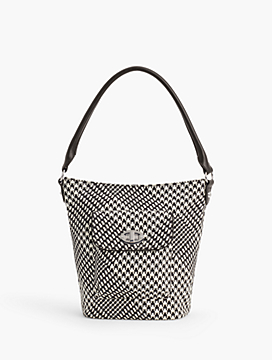 Turnlock Bucket Bag - Cotton Houndstooth