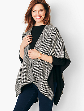 Trimmed Plaid Ruana