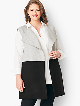 Plus Size Colorblock Wool Blend Vest