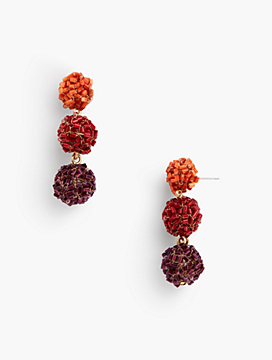 Beaded Sphere Triple Drop Earring