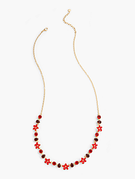 Floral Enamel Long Necklace