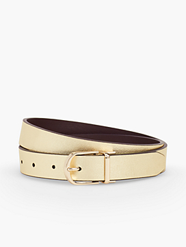 Leather Reversible Belt-Gold/Coffee