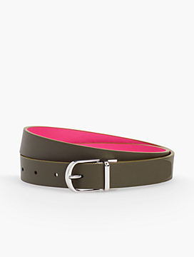Plus Size Reversible Leather Tab Belt