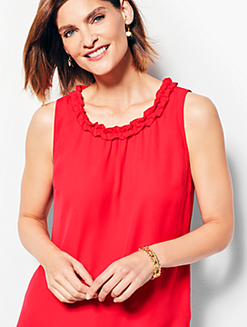 Sleevless Ruffle Neck Shell