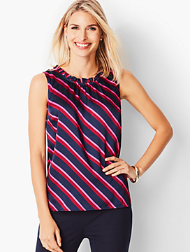 Stripe Shirred-Front Shell